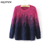 Free Shipping Autumn New Women Pullovers Two Color Gradient Color Mohair Sweaters Pullover O Neck Thicken