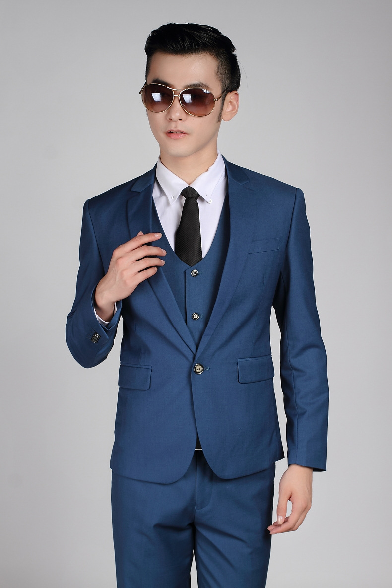 e5320f9bf4 Men Fashion SIngle Button Formal Suits Work Wear Business Mens Wedding  Royal Blue Tuxedo Suit Terno Masculino Slim Fit Casamento-in Suits from  Men's ...