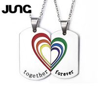 JUNG Trendy Stainless Steel Couple Necklace Pendant Rainbow Heart Wedding Jewelry Free 2 Chains For Women