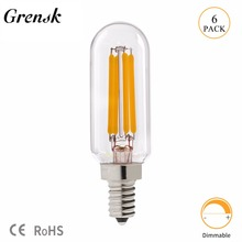 Grensk T8 2W 4W Dimmable Led Lights Bulb T25 Tubular Radio LED Filament Bulb E12 110V E14 220V Warm White 2700K Lamp Ampoule led