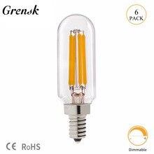 Grensk T8 2W 4W regulable Led Bombilla T25 Tubular Radio bombilla de filamento led E12 110V E14 220V blanco cálido 2700K lámpara ampolla Led