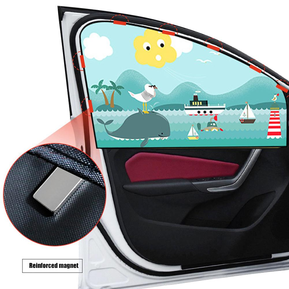 Image 2 - 2pcs Magnetic Car Sunshade Car Sunscreen Insulation Magnet Sun Shade Retractable Curtains Rear Row Cartoon Window Shade-in Side Window Sunshades from Automobiles & Motorcycles