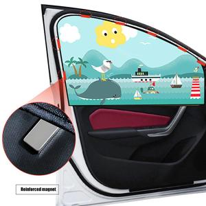 Image 2 - 2pcs Magnetic Car Sunshade Car Sunscreen Insulation Magnet Sun Shade Retractable Curtains Rear Row Cartoon Window Shade
