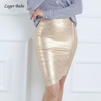 Leger Babe 2018 Summer Outfit High Quality Zipper Golden Foil Printing Women Bodycon Bandage Skirt Elaegant Club Party Wholesale