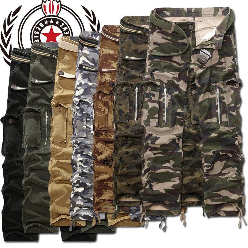 2014 nouvelle marque 7 couleur livraison gratuite grande taille offres spéciales militaire hommes Cargo pantalon décontracté coupe large armée Baggy pantalon pour homme