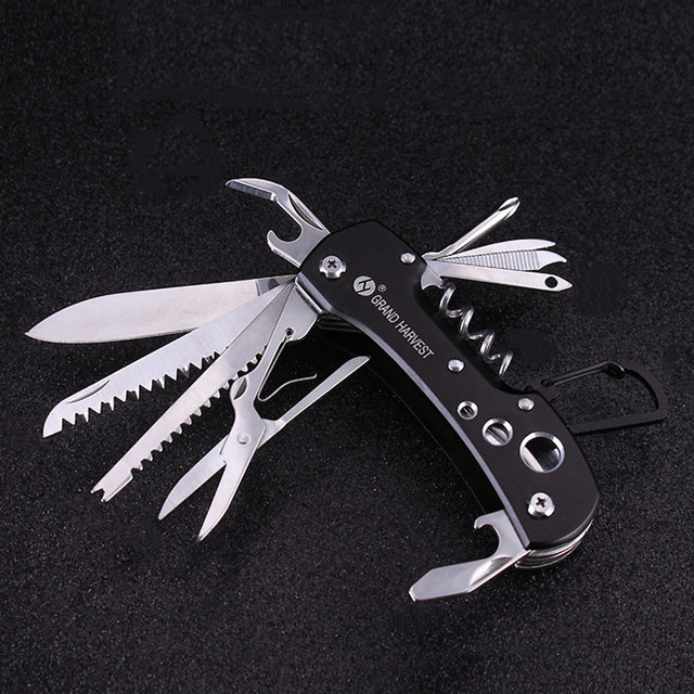 Outdoor Multifunctional Army Military Folding Knife Survival Blade Saw Scissors Hook Scaler Hiking Camping Multi Tool 1