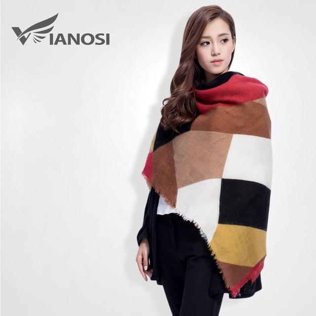 [ VIANOSI ] nuevo a cuadros de punto de lujo de moda suave bufanda de mujer de marca Foulard cachemira caliente del invierno del cabo VS053