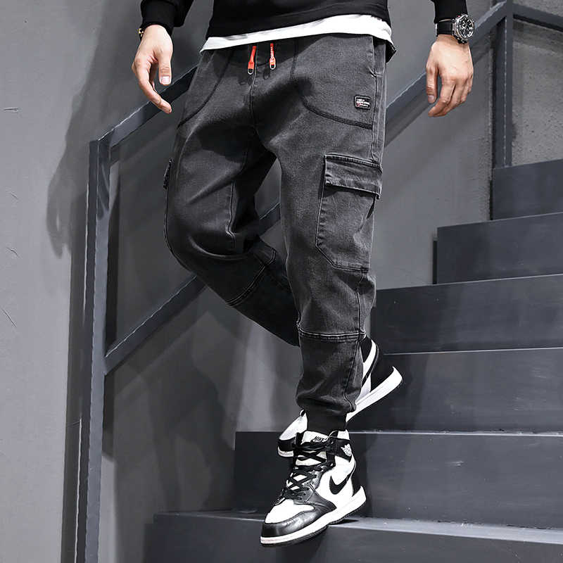 Fashion Streetwear Mannen Jeans Vintage Zwart Grijs Losse Joggers Broek hombre Grote Pocket Cargo Broek Slack Bottom Hip Hop Jeans mannen