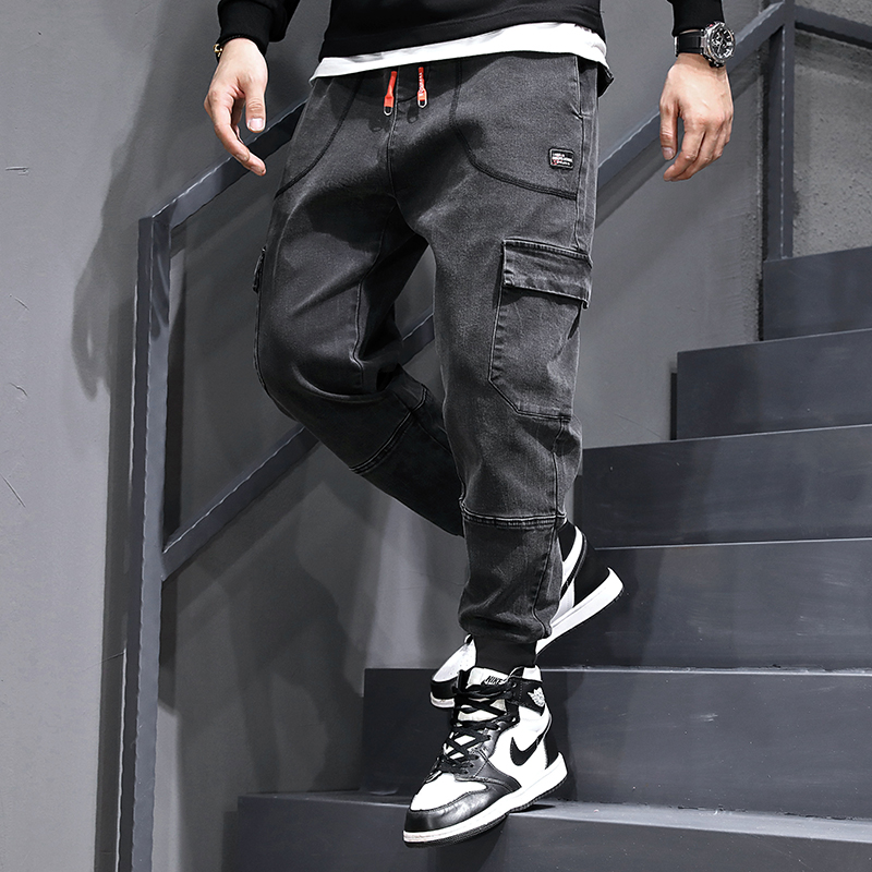 Fashion Streetwear Men Jeans Vintage Black Gray Loose Joggers Pants Hombre Big Pocket Cargo Pants Slack Bottom Hip Hop Jeans Men