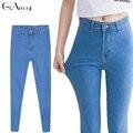 2017 Nova alta Elastic Magro Lápis Denim Calças De Brim Longas Mulheres calças de brim 7 Tamanhos Calças Lápis Calças Skinny de jeans de cintura alta mulher