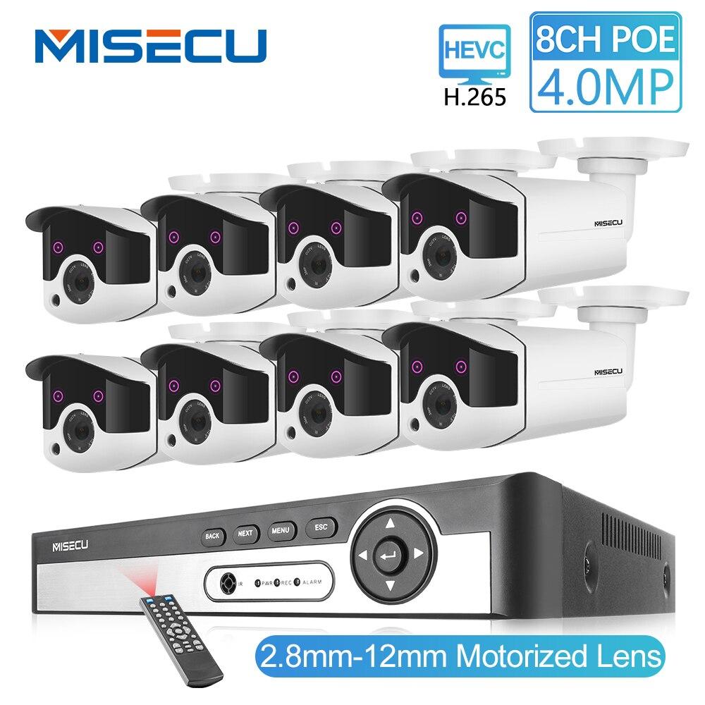 MISECU H.265 8CH 4MP CCTV Sistema de Câmera Kit POE NVR 2.8-4MP 12mm Zoom Impermeável Ao Ar Livre IP POE câmera de Segurança Vigilância P2P