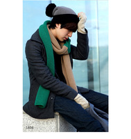 Men 2016 Fashion Double Colors Cotton Long Shawl Male Winter Thickness Knitted Scarves Charm Chevron Stripes