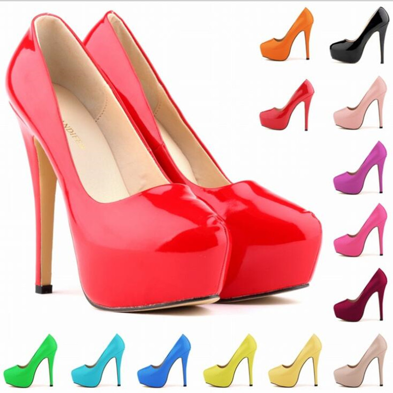 LOSLANDIFEN Platform Pumps Women Sexy Extremely High Heels Shoes Bridal Stiletto Red Ladies Wedding Party Shoes