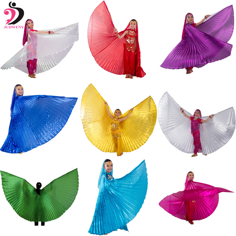 2017 New Belly Dance Wings Egypt Isis Wing for Kids Belly Dance Costumes Bellydance Accessories Gold for Girls Children no Stick