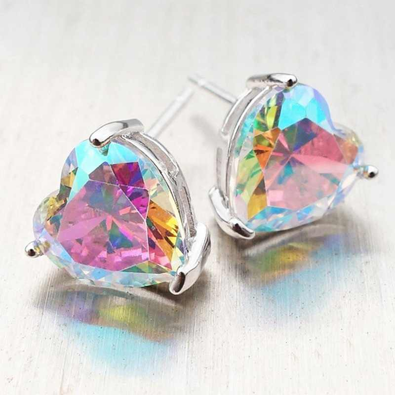 1 Pair Fashion Jewelry Multi Color Cz Crystal Zircon Love Heart Stud Earrings For Girls Free Jewelry