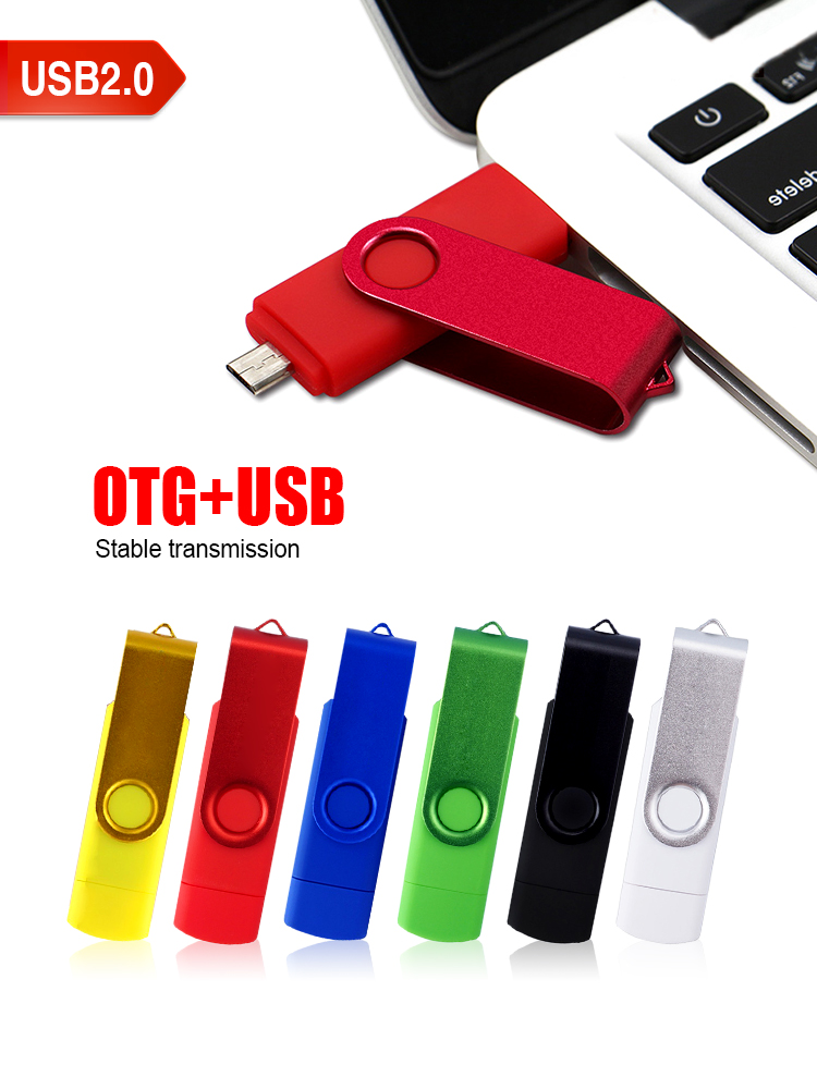J2B High Speed Rotate Usb Flash Drive OTG 64GB 32GB 16GB USB2.0 Pen Drive Memory Pendrive Otg Usb Disk Usb Stick  256gb 512gb