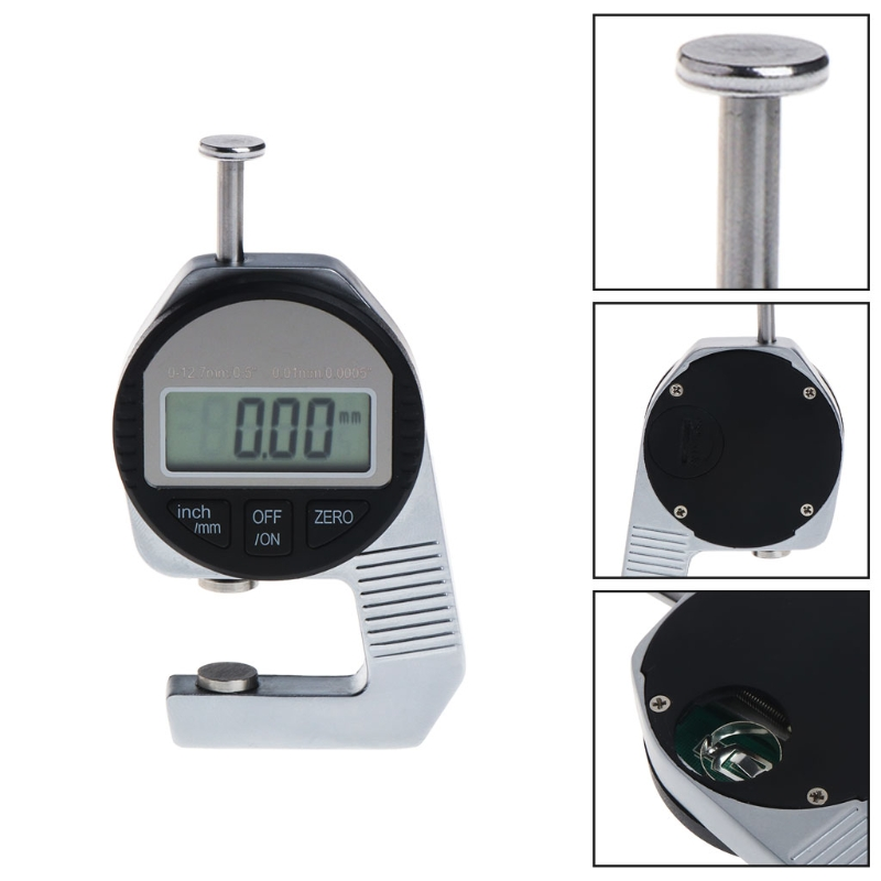 0.01MM LCD Digital Thickness Gauge Thickness Measuring Tool Paper Leather Cloth Thickness Gauge Range 0-12.7mm Micrometer