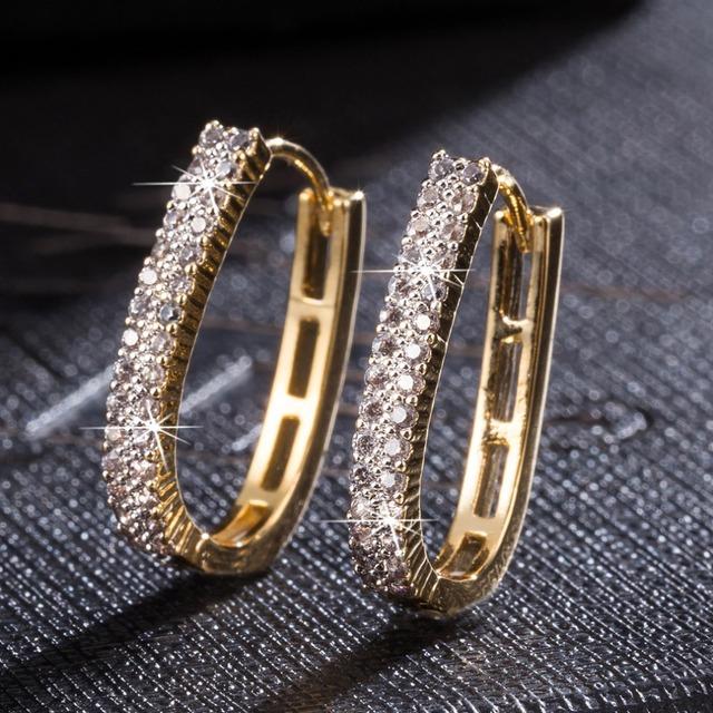 Moda Brillante Circón Pendientes de Aro para Las Mujeres Oro Plateado Brincos zirconia huggie argolla argola boucle d'oreille joyería