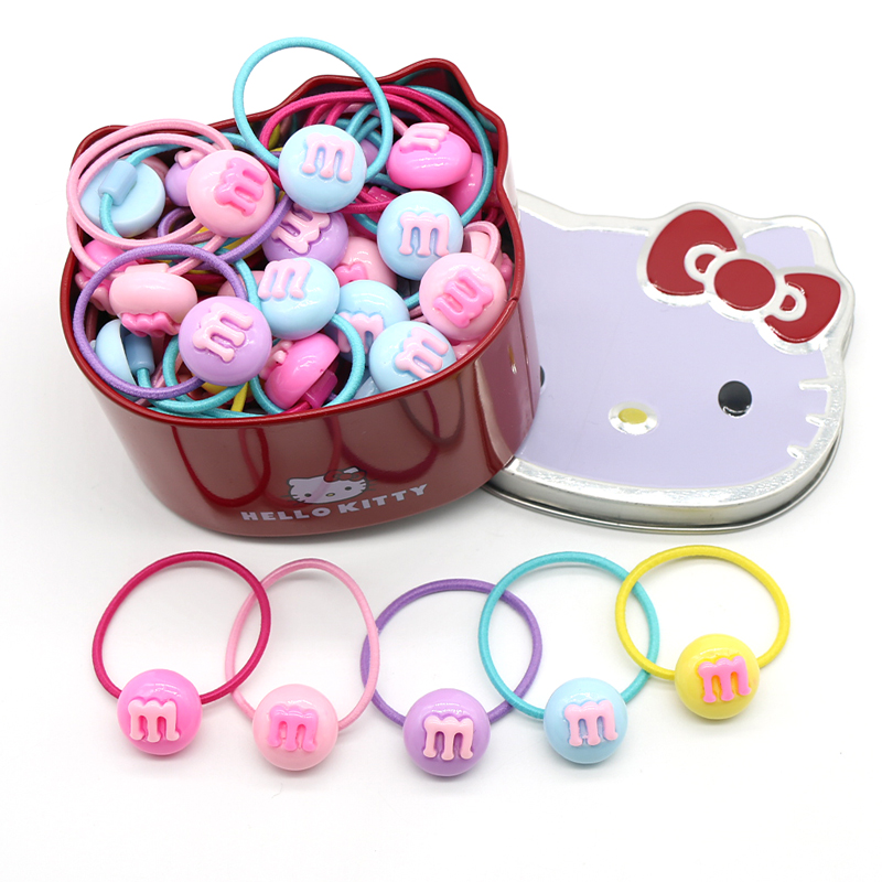 50PCS set Cute Rabbit Elastic Hair Bands Hair Ties With Hello Kitty Box Christmas Rubber Bands For Girls KIDS in Hair Accessories from Mother Kids