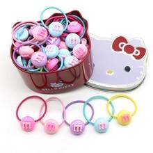 Acrylic Sweet Beans Cartoon Rabbit Elastic Hair Bands For Girls Kids 50pcs With Hello Kitty Gift Box Elastics Accessories