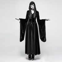 Панк рейв для женщин Готический Ведьма вампир с Капюшоном Платья для стимпанк косплэй платье для выступлений на сцене бархатное худи богин