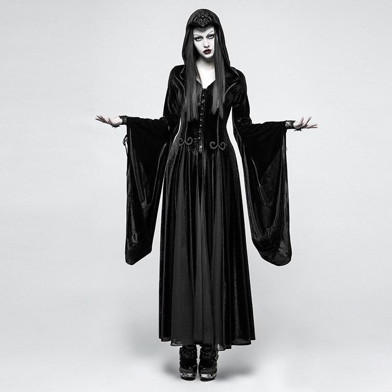 Панк рейв для женщин Готический Ведьма вампир с капюшоном платья стимпанк Косплей сценическое платье бархат толстовка богиня длинные платья