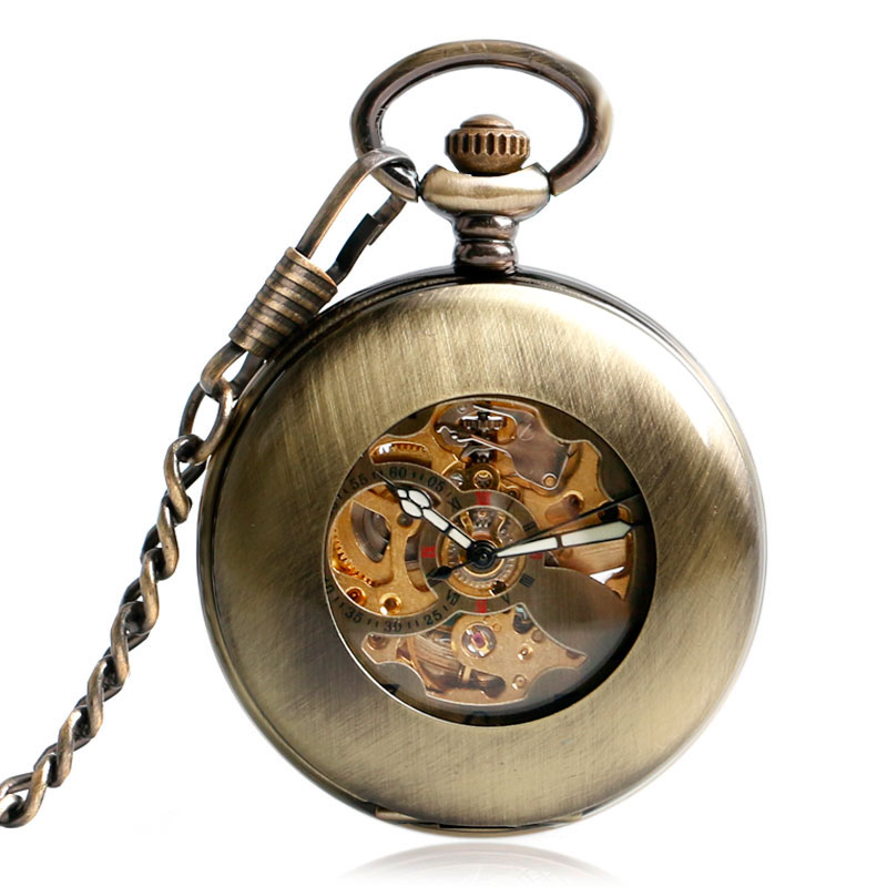 New Retro Bronze Smooth Hollow Case Skeleton Dial Self-wind Mechanical Pocket Watches Vintage Steampunk Fob Watch With Chain