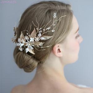 Image 3 - Jonnafe Hochzeit Haar Crown Clip Gold Leaf Floral Braut Haar Schmuck Handgemachte Vintage Frauen Prom Kopfstück Zubehör