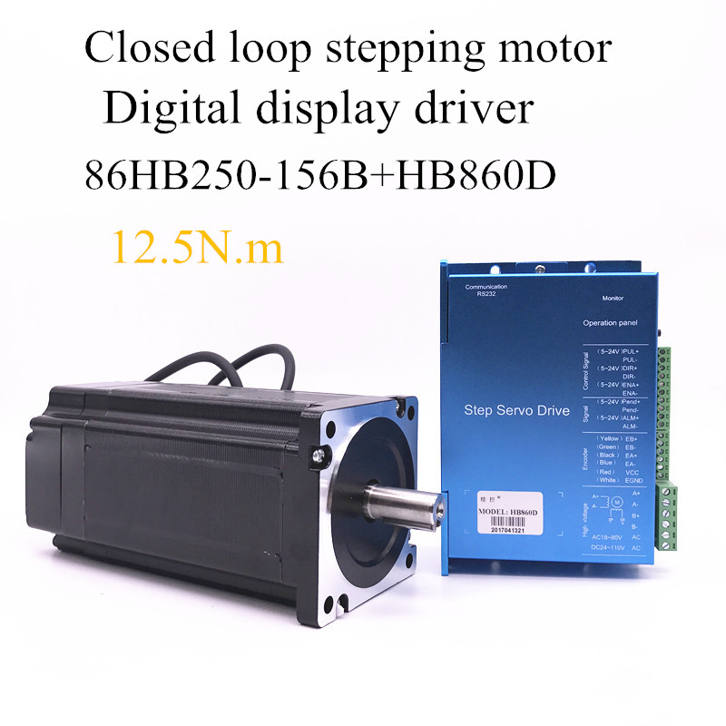 все цены на Nema 12.5N.m DC closed-loop Stepper motor 86HB250-156B+HB860D step motor 86 Hybird closed loop 2-phase stepper motor driver