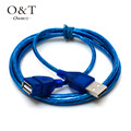 OWNEST USB V 2.0 Extender Extension A Male to Female Cable Wire Lead Plug Socket clear blue(1m,1.5m,2m,3m)