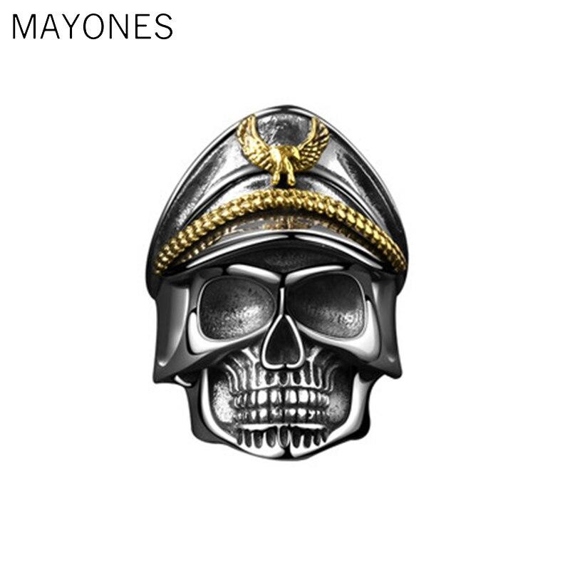 MAYONES Punk armée casquette seconde guerre mondiale crâne officier anneau solide réel 925 bague en argent Sterling pour hommes Vintage Thai bijoux en argent