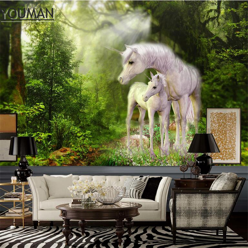 Wallpapers Youman 3D Custom Green Wallpaper White Horse Wallpaper Murals Forest Animal Wallpaper Bedroom Kitchen Restaurant купить недорого в Москве
