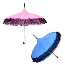 Princess Lace Pagoda Umbrellas For Women Parasol Long-handle Semi Automatic Umbrella Windproof Sunny and Rainy