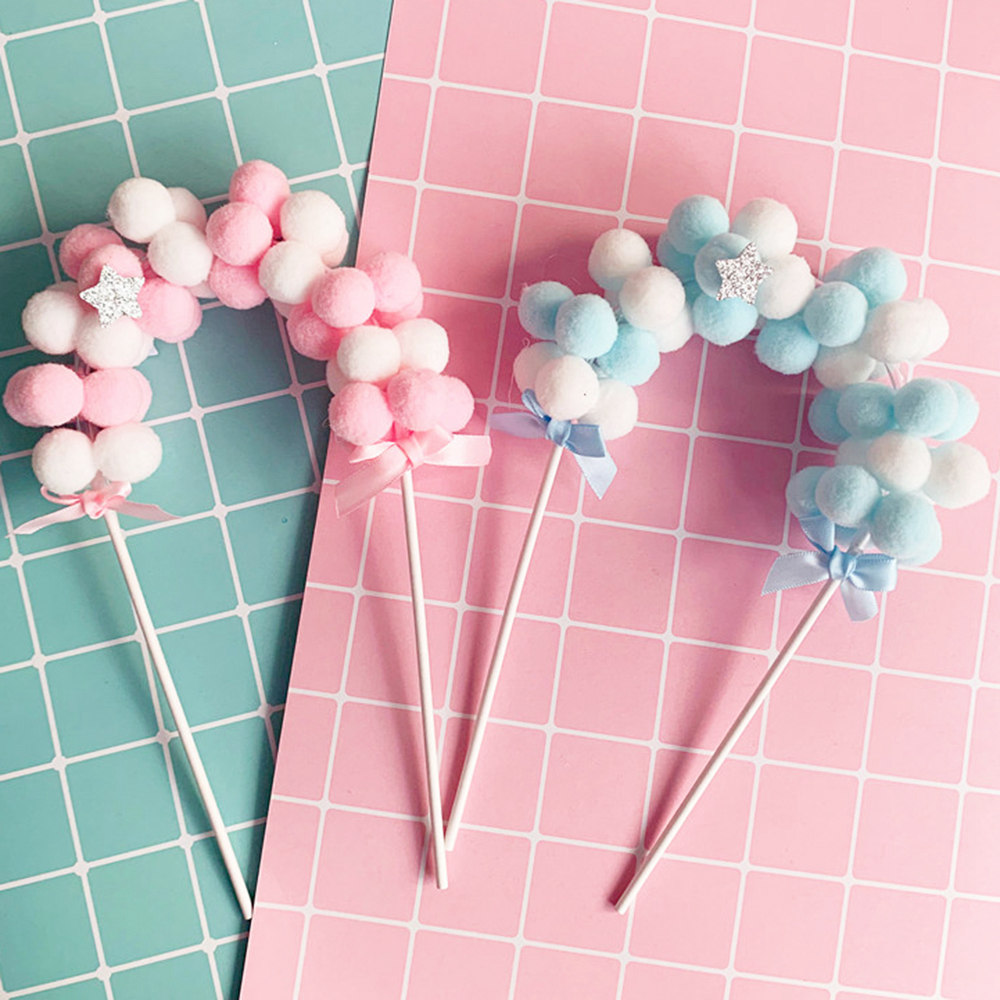 Cake Topper Flags Decoration Pompom Party-Supplies Baby Shower Birthday Cloud Blue DIY