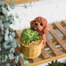 Decorative Brown Chocolate Teddy Dog Resin Flower Cactus Succulent Pot Planter Bonsai Home Garden Pot Decor