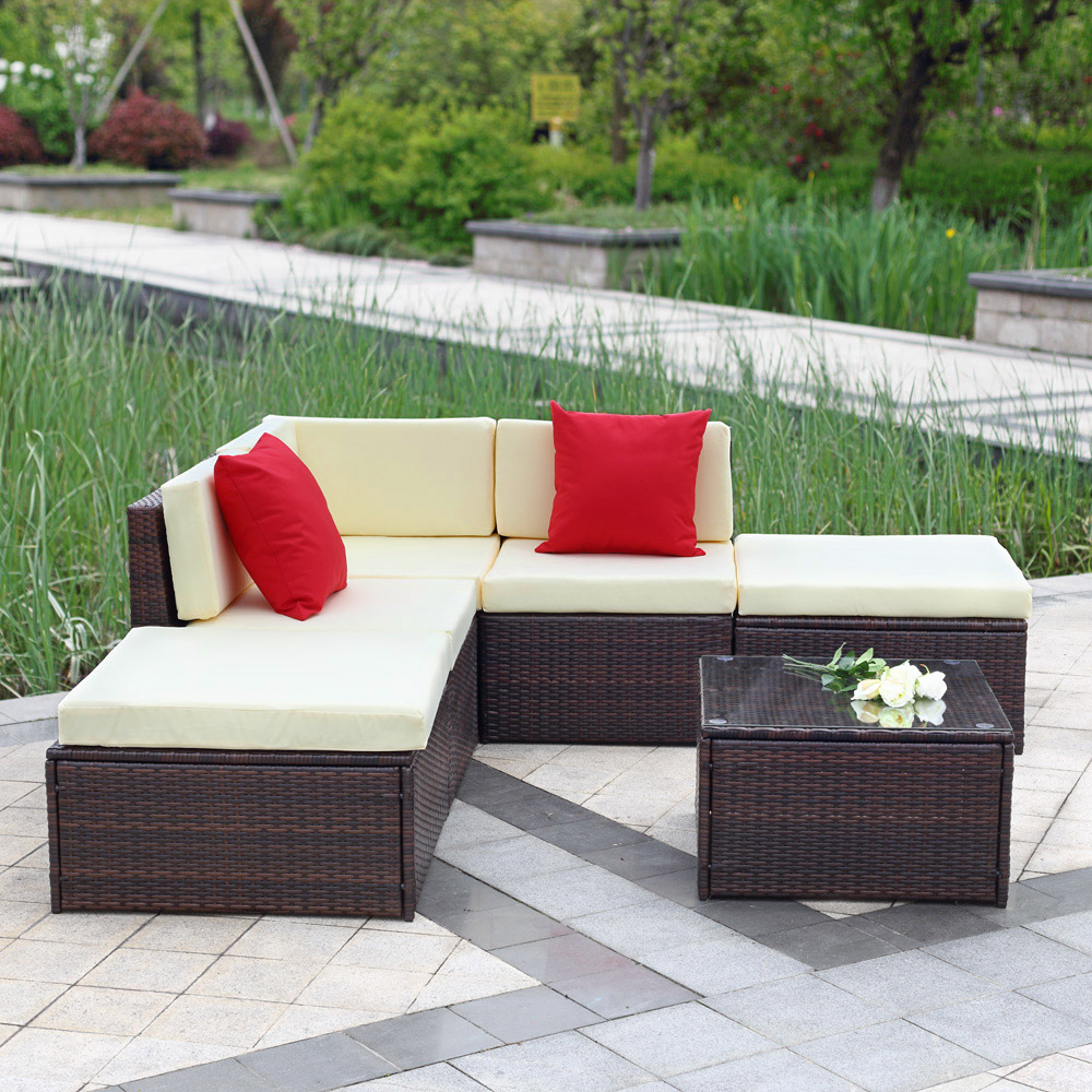 Aliexpress.com : Buy IKayaa UK Stock Cushioned Rattan Wicker Garden Patio  Furniture Sofa Set Ottoman Corner Couch Outdoor Furniture Salon De Jardin  From ...