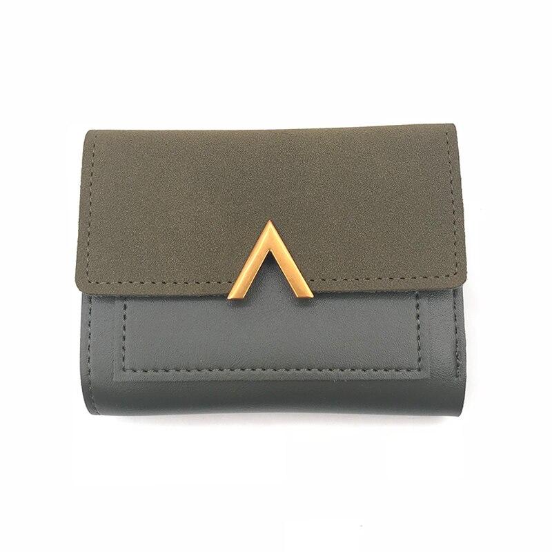 Маленький женский кошелек из матовой кожи, роскошный бренд, известные мини женские кошельки и кошельки, короткий женский кошелек для монет, кредитный держатель для карт - Цвет: Green