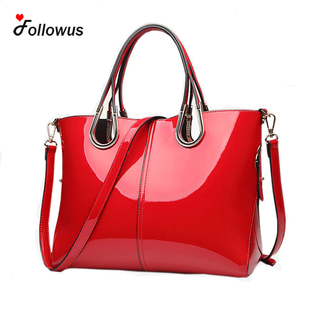 2016 Patent Leather Women Business Messenger Bags 7 Solid Colors New Fashion Tote Handbag Bolsas Feminina