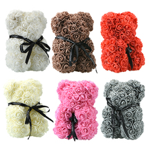 2019 25cm Foam Bear of Roses PE Artificial Flower New Year DIY Gifts for Women Valentines Day Lovers Gift