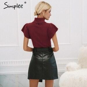 Image 4 - Cuero Pu mujeres falda inferior cintura alta cinturón elegante Falda corta de mujer elegante cremallera Fiesta club wear señoras falda