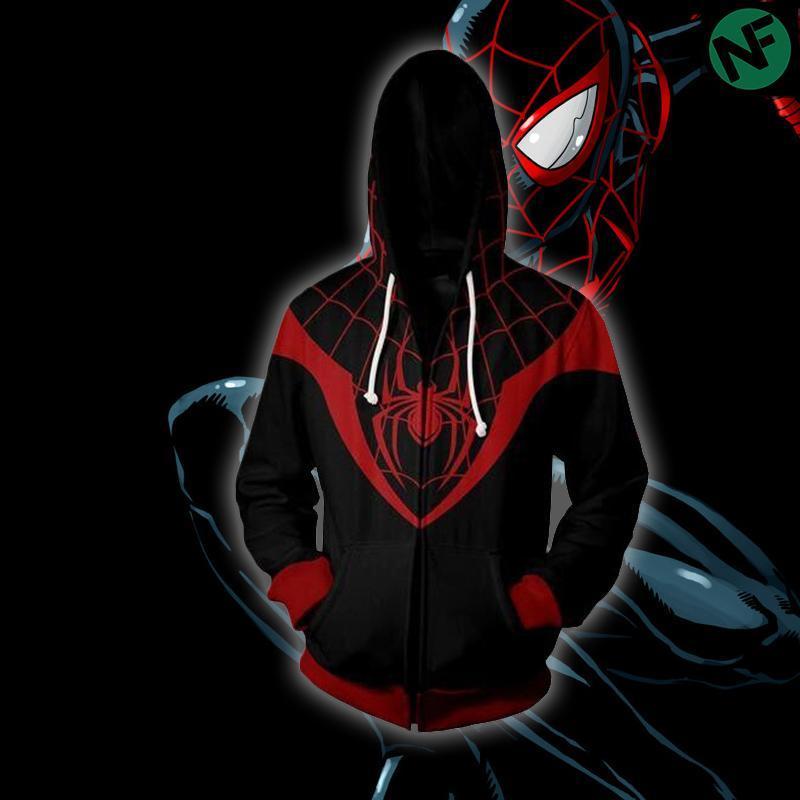 Miles Morales dans Spider-Man Sweats à capuche manteau Spiderman Sweat-shirt Cosplay Costume