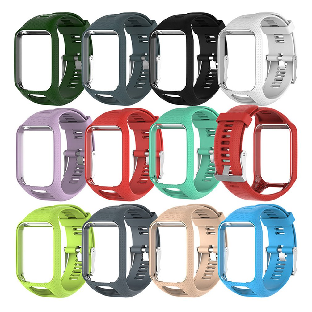 Silicone Replacement Watchband For Tom Tom 2 3 Series Watch Strap Wrist Band Strap For TomTom Runner 2 3 GPS Watches