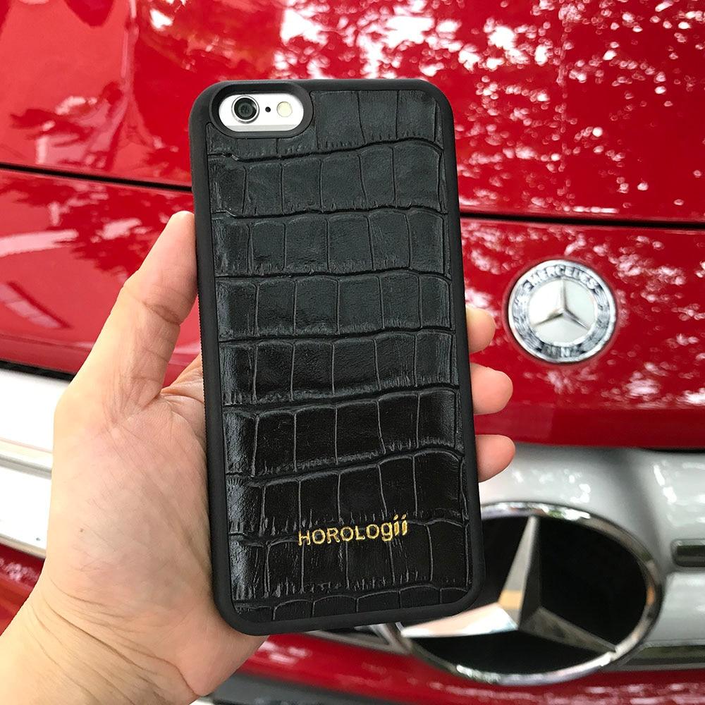 imágenes para Moda Negro en relieve Del Patrón Del Cocodrilo Del Cuero Genuino de la vaca Caja Del Teléfono para el iphone 5 6 s 7 Cubre 5.5 ''4.7'' personalizado nombre servicio