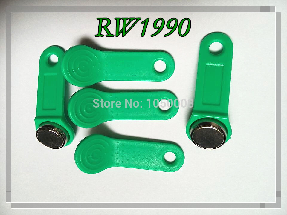 100pcs lot Rewritable RFID Tag RW1990 iButton Copy Card Touch Memory Key Compatible DS1990 green color