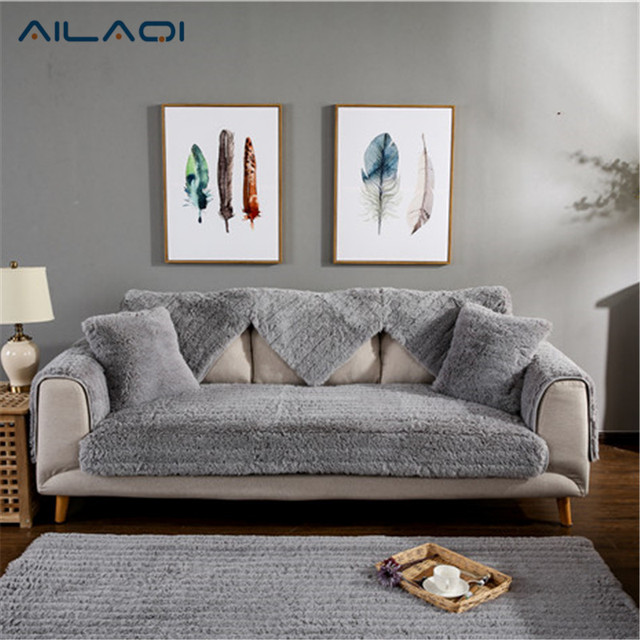 Ailaqi Pulsh Sofa Covers Fabric Knit Eco Friendly Stretch Furniture Slipcover Couch Cover For Living Drawing Room