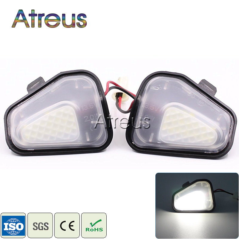 Atreus Car LED Under Side Mirror Lights For Volkswagen VW <font><b>Passat</b></font> EOS Scirocco CC <font><b>Accessories</b></font> 2X White SMD LED Lamp Bulb Kit 12V image