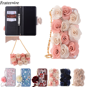 Image 1 - For Samsung Galaxy S6 S7 Edge S8 S9 Plus Rose Flower Leather Flip Wallet Case For Samsung Note 8 5 4 Lovely Pearl Phone Bag