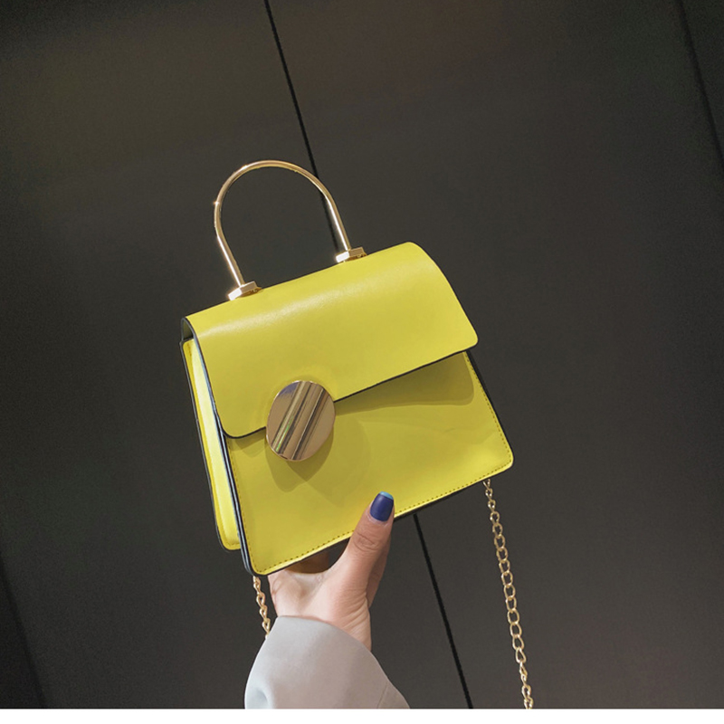 Small Bag 2019 New Shoulder Messenger Bag Korean Polyester Solid Color Cross Section Chain Mobile Phone Small Square Bag