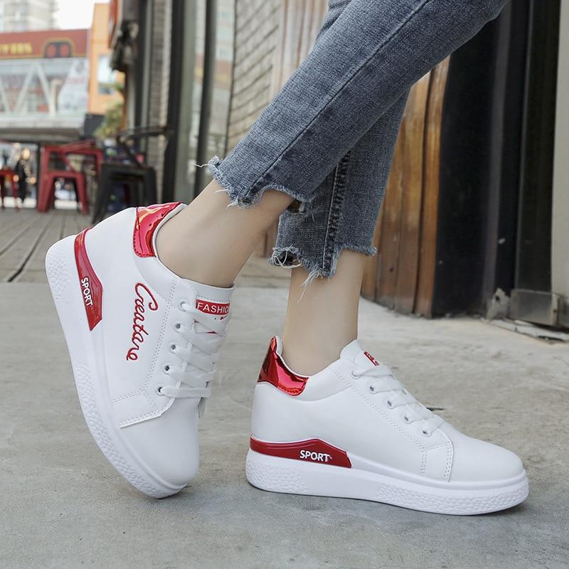 2018 Designer Korean White Platform Sneakers Wedges Women ...