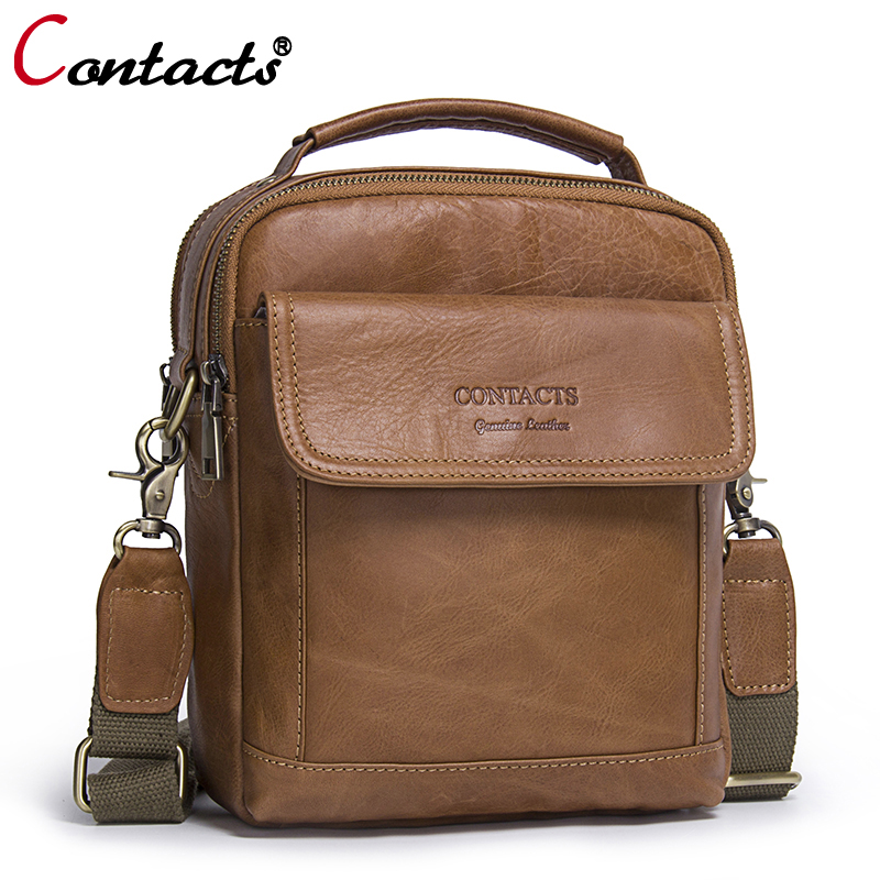 CONTACT'S Men bag Genuine Leather Men Shoulder Bags handbag High Quality Messenger Bag Business briefcase Men's Travel Bags new все цены